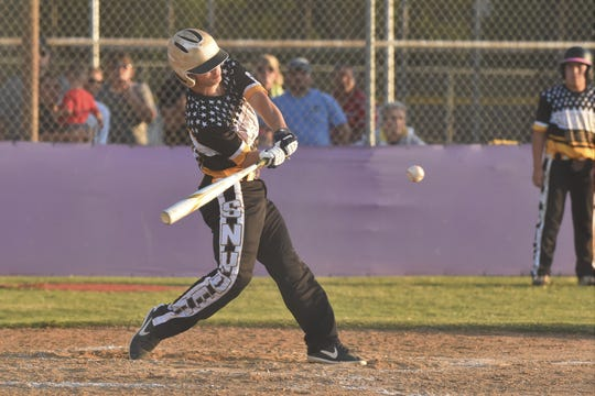 Snyder Senior League All-Star Bryce Ford (23) swings at a pitch during the Texas West state championship game. Ford went 2 for 2 with two runs and two RBIs in Snyder's 11-10 win against Seguin in its first game of the Southwest Regional on Saturday.
