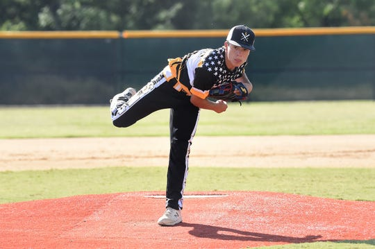 Snyder Senior League All-Star Derek Dominguez (8) follows through on a pitch against Pecos in the Texas West state championship game at Kirby Park on Sunday. Dominguez allowed one run on four hits with seven strikeouts in 5⅔ innings of work to get the victory in Snyder's 11-1 win.