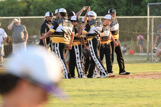 The Snyder Senior League All-Star team celebrates winning the Texas West state championship 11-1 against Pecos at Kirby Park on Sunday. Snyder will begin the Southwest Regional in Seguin on July 20 against the winner between Oklahoma and Seguin Little League.