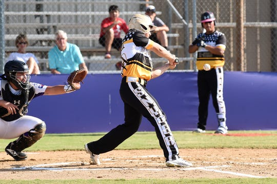 Snyder Senior League All-Star Kyler Teakell (20) swings at a pitch against Pecos in the Texas West state championship game at Kirby Park on Sunday. Teakell hit a home run in the 11-1 victory to win the title and advance to the Southwest Regional at the end of the week in Seguin.