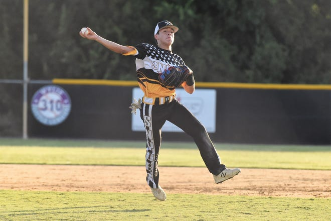 Snyder's Derek Dominguez (8) makes a play during last week's Texas West Senior League state baseball tournament. Snyder won the state title and beat Seguin 11-10 on Saturday in its first game at the Southwest Regional.