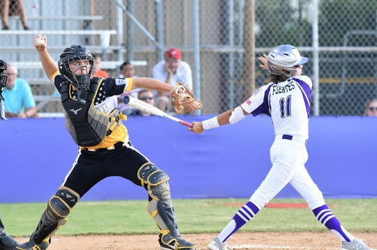 Snyder Senior League All-Star catcher Bryce Ford (23) pops up to throw to second against Pecos in the Texas West state championship game at Kirby Park on Sunday, July 14, 2019. Snyder won 11-1 to win the title and advance to the Southwest Regional in Seguin July 19-25.