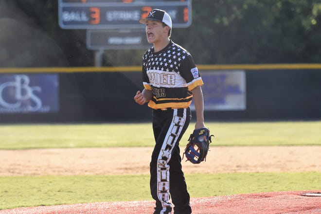 Snyder Senior League All-Star pitcher Derek Dominguez (8) celebrates a strikeout against Pecos in the Texas West state championship game Sunday at Kirby Park. Snyder won 11-1 to win the title and advance to the Southwest Regional on July 19-25 in Seguin.