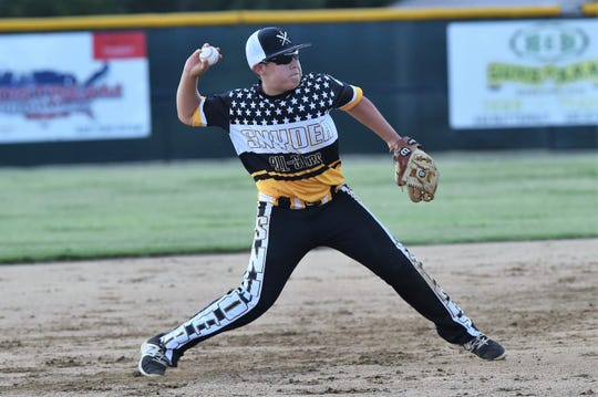 Snyder Senior League All-Star shortstop Jerek Peña (2) throws to first against Pecos in the Texas West state championship game at Kirby Park on Sunday. Peña collected three RBIs in the 11-1 victory to win the title and advance to the Southwest Regional in Seguin July 19-25.