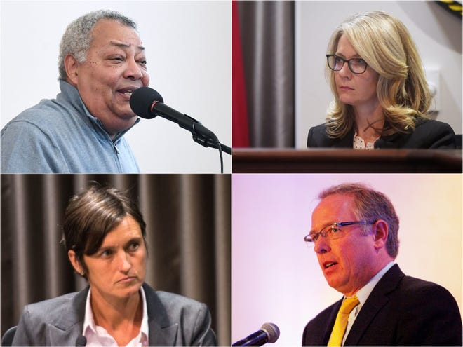 Buncombe County's four Democratic commissioners have expressed opposition to a proposed state law that would force sheriffs to comply with Immigrations and Customs Enforcement detainer requests. From left, clockwise: Al Whitesides, Amanda Edwards, Brownie Newman and Jasmine-Beach Ferrara.