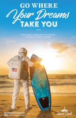 This Space Coast Office of Tourism ad promotes both Brevard County beaches and its space launches.