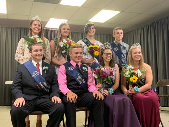 From left, back, Corin Feik, Brooke Sagle, Kaleen Pratt, Connor Corwin; and front, Nathan Wingert, King Levi Hartschuh, Queen Bella Walter and Mariah Cotsamire were named royalty of the 2019 Crawford County Fair on Sunday night.