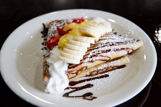 Sweet strawberry crepes at Crescendo Cafe.