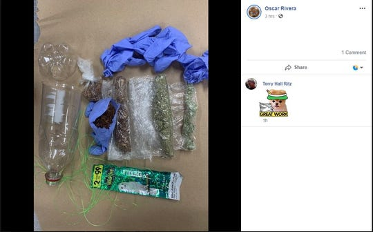 San Patrico County Sheriff Oscar Rivera released a photo of marijuana and synthetic marijuana that was stuffed inside a plastic bottle. A man who attempted to throw the bottle inside the San Patricio County Jail was arrested.