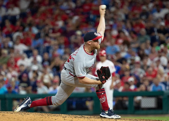 Jul 12, 2019; Philadelphia, PA, USA; Washington Nationals relief pitcher Sean Doolittle (63) pitches during the ninth inning against the Philadelphia Phillies at Citizens Bank Park. Mandatory Credit: Bill Streicher-USA TODAY Sports