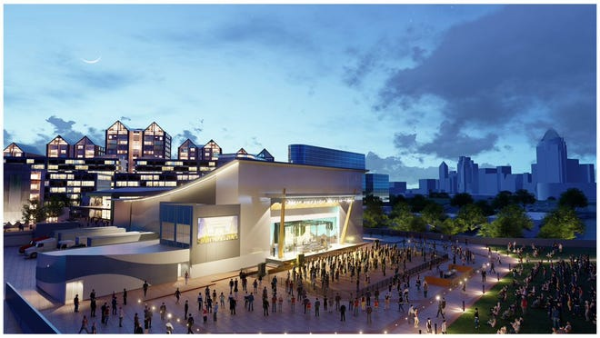 An artist's rendering of the AEG Presents/PromoWest concert venue coming to the Ovation site in Newport