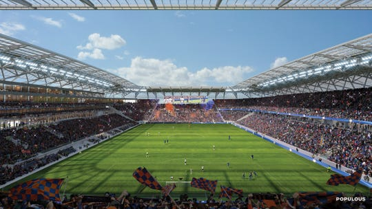 A view from the south side of the final FC Cincinnati stadium design, which is under construction in the West End. The Bailey fans section will have a capacity of 3100 up from the 1700 now at UC. It will have a dedicated bar space and cupholders at the seats.