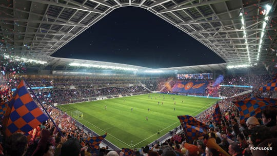 A view of the full canopy of the final FC Cincinnati stadium design, which is under construction in the West End. The field detention is 1100 yards by 75 yards.