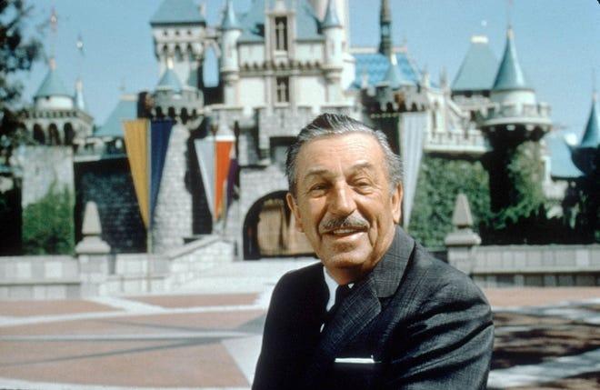 Walt Disney, founder of the Disney empire sits at Disneyland in Anaheim, California.