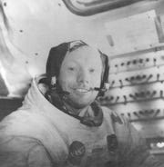 "JULY 29, 1969: This photograph of Astronaut Neil Armstrong, Apollo 11 commander, was taken inside the lunar module while it rested on the lunar surface. Astronauts Armstrong and Edwin ""Buzz"" Aldrin, lunar module pilot, had already completed their extravehicular activity when this picture was taken."