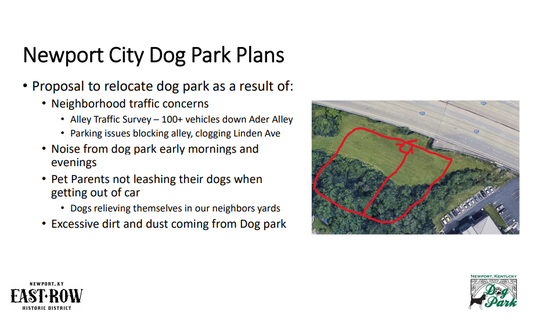 A slideshow shows dog park concerns and a sketch of where the new park could be built behind the Campbell County Public Library in Newport.
