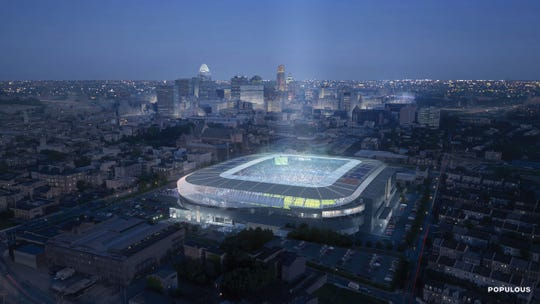 A view of the final FC Cincinnati stadium design from the north west facing back towards downtown Cincinnati. The  stadium is under construction in the West End and has a full bowl design.