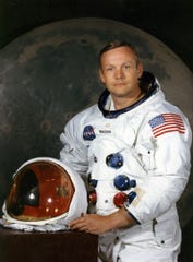 Neil Armstrong, commander of the Apollo 11 lunar landing mission, as photographed by NASA in 1969 at Manned Spacecraft Center in Houston.