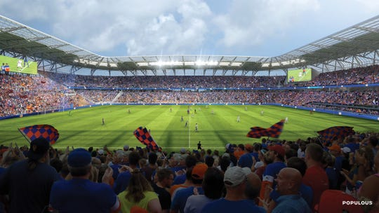 A rendering of the final FC Cincinnati stadium design, which is under construction in the West End. There are two scoreboards.