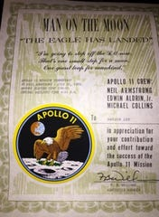 Those who contributed toward the Apollo 11 mission were given certificates of their efforts.