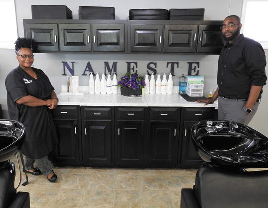 Danielle Davis and Carlos Washington recently opened Nameste Hair on Ohio 83. They take all customers, but Davis has experience styling hair of different ethnic types.