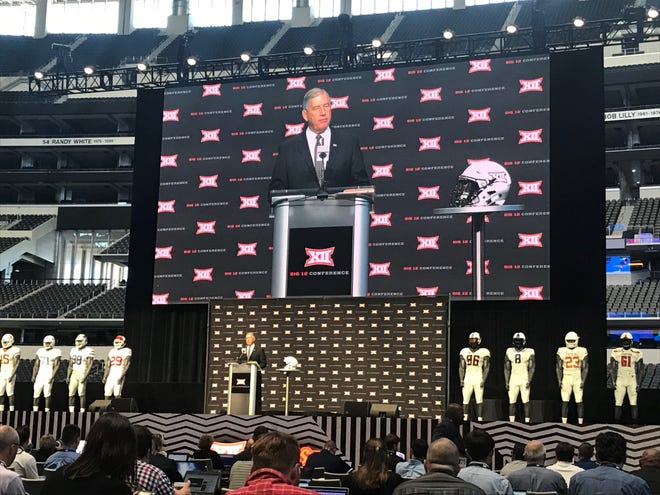 Big 12 commissioner Bob Bowlsby addresses the reporters Monday at conference Media Days