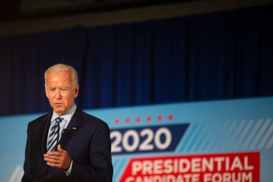 Former Vice President Joe Biden speaks during the AARP Presidential Forum at Drake University's Olmsted Center in Des Moines, Iowa on July 15, 2019.