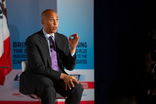 U.S. Sen. Cory Booker, D-New Jersey, speaks at the AARP Presidential Forum at Drake University's Olmsted Center in Des Moines, Iowa on July 15, 2019.