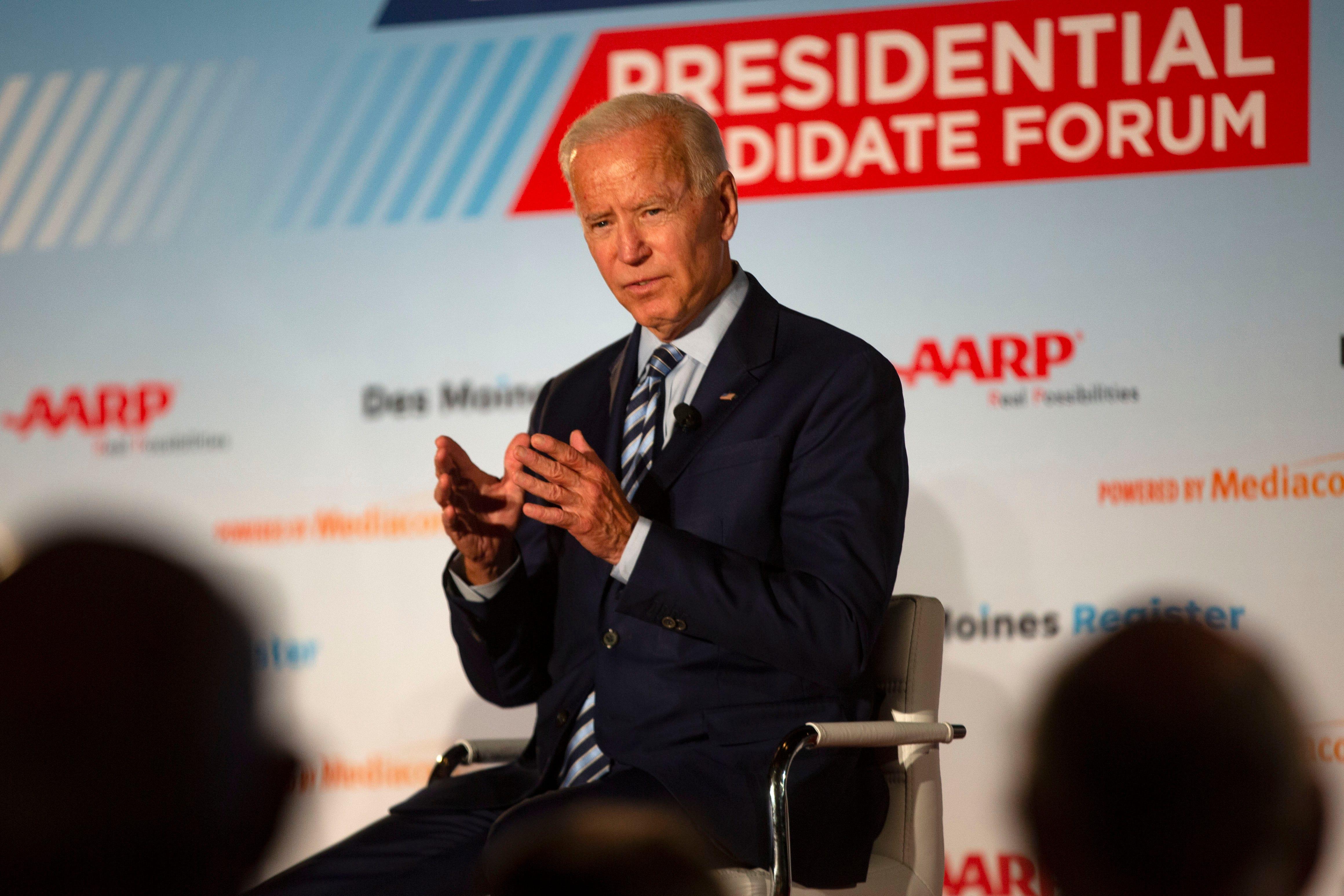 Joe Biden remarks on gene sequencing, leans on moderator Kay Henderson at AARP Forum