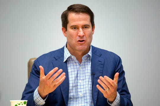 U.S. Rep. Seth Moulton, D-Mass., speaks with the Register's editorial board on the morning of Monday, July 15, 2019.