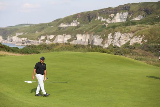 Francesco Molinari plays the No. 5 hole at Royal Portrush on Monday.