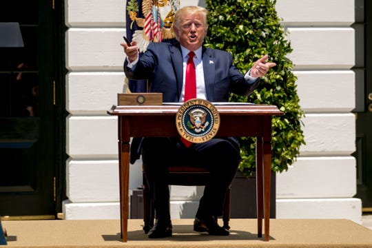 Trump said his order will gradually boost the percentage of U.S. components for qualifying American-made products from 50 percent to 75 percent. He said the threshold would increase to 95 percent for iron and steel products.