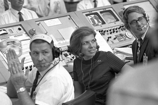 JoAnn Morgan watches from the launch firing room during the launch of Apollo 11 July 16, 1969, in Cape Canaveral, Fla.