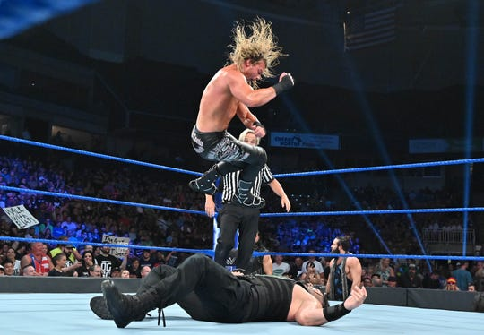 WWE's Dolph Ziggler (top) in the ring