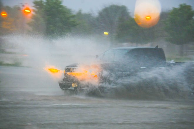 Some Door County roads experienced deep puddles and minor flash flooding Monday morning, after a storm rolled over the peninsula.