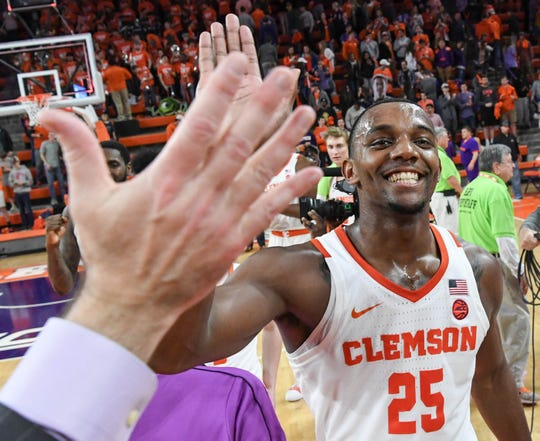 Clemson forward Aamir Simms (25), shown during the 2018-19 season, averaged 15.2 points and 9.8 rebounds during the World University Games.