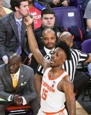 After averaging 2.1 points per game as a freshman, Clemson's John Newman (15) thrived on the World University Games stage, averaging 13.8 points in the Tigers' six games. Photo is from the 2018-19 season.