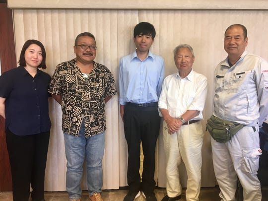 Members of the Japan Association for Recovery and Repatriation of War Casualties arrived on Guam July 5 to research for remains of Japanese soldiers who died on island during World War II. Thirteen remains found years ago are finally headed home to Japan on July 16. From left: Arisa Nakayama, Mamoru Akagi, Wataru Inaba, Heitaro Matsumoto and Shigeru Okamura.