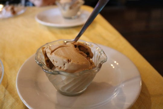 The cafe macchiato gelato is one of the many desserts offered at the restaurant.