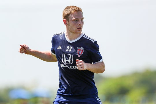 Indy Eleven midfielder Tyler Pasher practices with the team at Grand Park Sports Campus in Westfield, Ind., Monday, July 15, 2019.