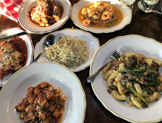 Chicken parmesan, cacio e pepe, gnocchi with bolognese, lemon garlic shrimp and pasta with sasuage and broccoli rabe are on the menu at Maialina Italian Kitchen + Bar. The restaurant opened July 15, 2019, at the former Smokehouse on Shelby, 1105 Prospect St., in the Fountain Square neighborhood of Indianapolis. bruschetta