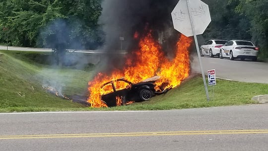 Pictured is the car authorities say Travis Zimmerman used to lead deputies on a wild chase through Knox County on Sunday, July 14, 2019. The car reportedly caught fire after Zimmerman sped over some railroad tracks, went airborne and hit the ground.