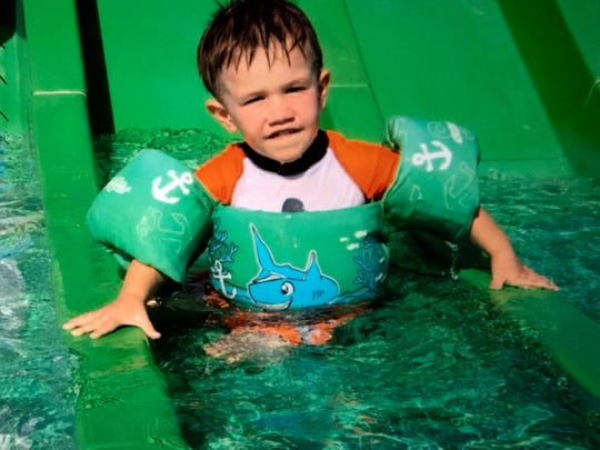 Levi Hughes in the pool wearing pool floaties. Levi died after falling into a pool on June 10, 2018. Since then, his mother Nicole Hughes has worked to raise awareness of drowning and how to prevent it.