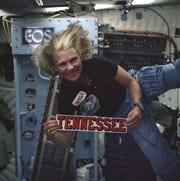 NASA astronaut and UT College of Medicine graduate Rhea Seddon on one of her three Space Shuttle flights.