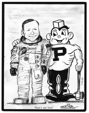 Dave Sattler, a young J&C editorial cartoonist in July 1969, drew this cartoon during the Apollo 11 mission to the moon, featuring a proud Purdue Pete with astronaut Neil Armstrong.