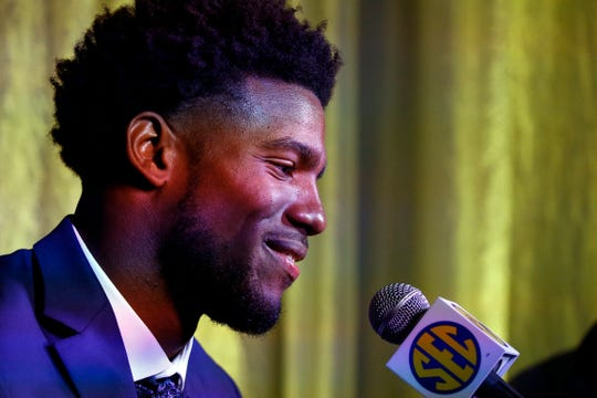 Kelly Bryant, of Missouri, speaks during the NCAA college football Southeastern Conference Media Days, Monday, July 15, 2019, in Hoover, Ala. (AP Photo/Butch Dill)