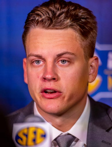 July 15, 2019; Birmingham, AL, USA; LSU Tigers quarterback Joe Burrow speaks to the media during SEC Media Days at the Hyatt Regency-Birmingham. Mandatory Credit: Vasha Hunt-USA TODAY Sports