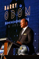 Missouri coach Barry Odom speaks at SEC Media Days on Monday.