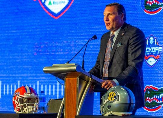July 15, 2019; Birmingham, AL, USA; Florida Gators head coach Dan Mullen speaks to the media during SEC Media Days at the Hyatt Regency-Birmingham. Mandatory Credit: Vasha Hunt-USA TODAY Sports
