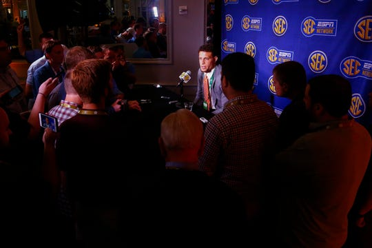 Florida quarterback Feleipe Franks speaks during the NCAA college football Southeastern Conference Media Days, Monday, July 15, 2019, in Hoover, Ala. (AP Photo/Butch Dill)